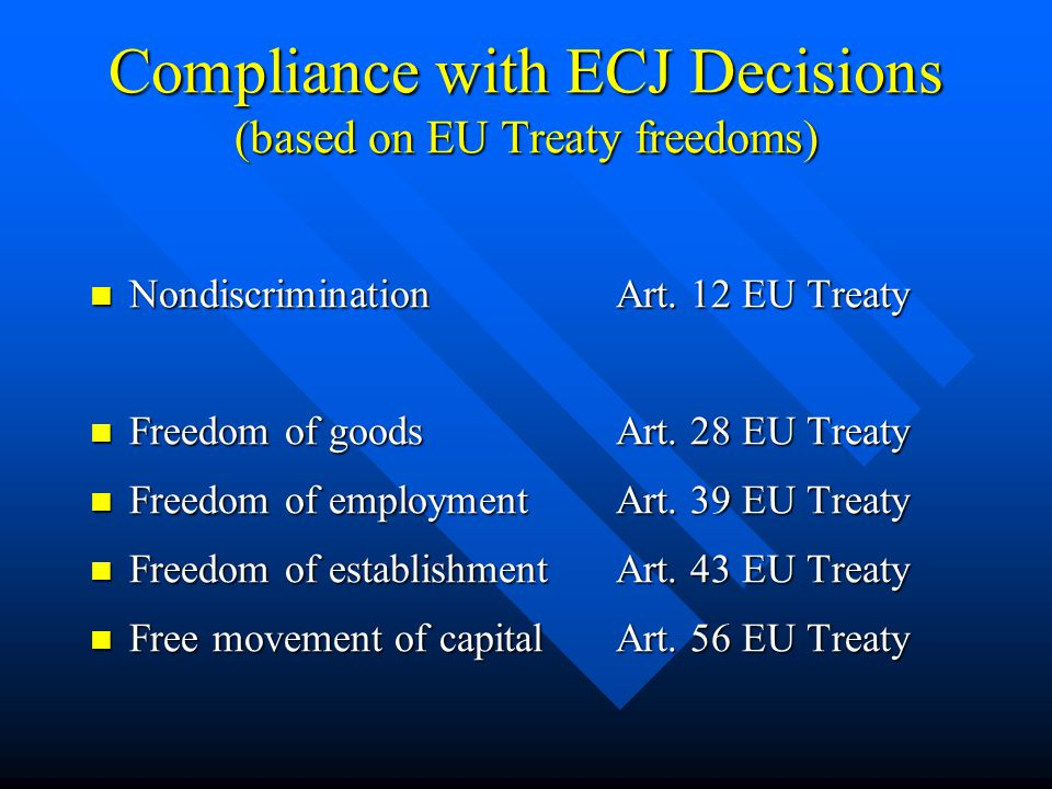 Compliance with ECJ Decisions (based on EU Treaty freedoms) NondiscriminationArt. 12 EU Treaty NondiscriminationArt. 12 EU Treaty Freedom of goodsArt.
