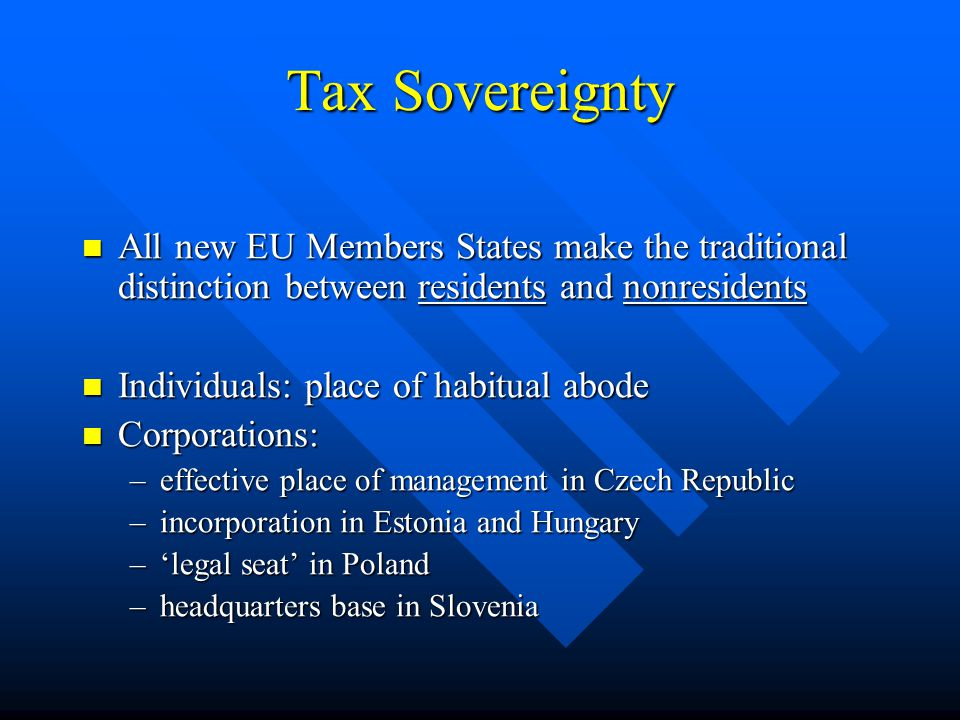 Freedom of Employment (main issues) Personal allowances (Schumacker case) Personal allowances (Schumacker case) –Poland and Slovenia: comply –Estonia: no allowances –Hungary: credit against tax (liability requirement) –Czech Republic: only basic allowance Deductibility of pension premiums (Bachmann case) Deductibility of pension premiums (Bachmann case) –all countries: limited to resident funds Splitting system (Werner case) Splitting system (Werner case) Special nonresident tax rate (Asscher case) Special nonresident tax rate (Asscher case)
