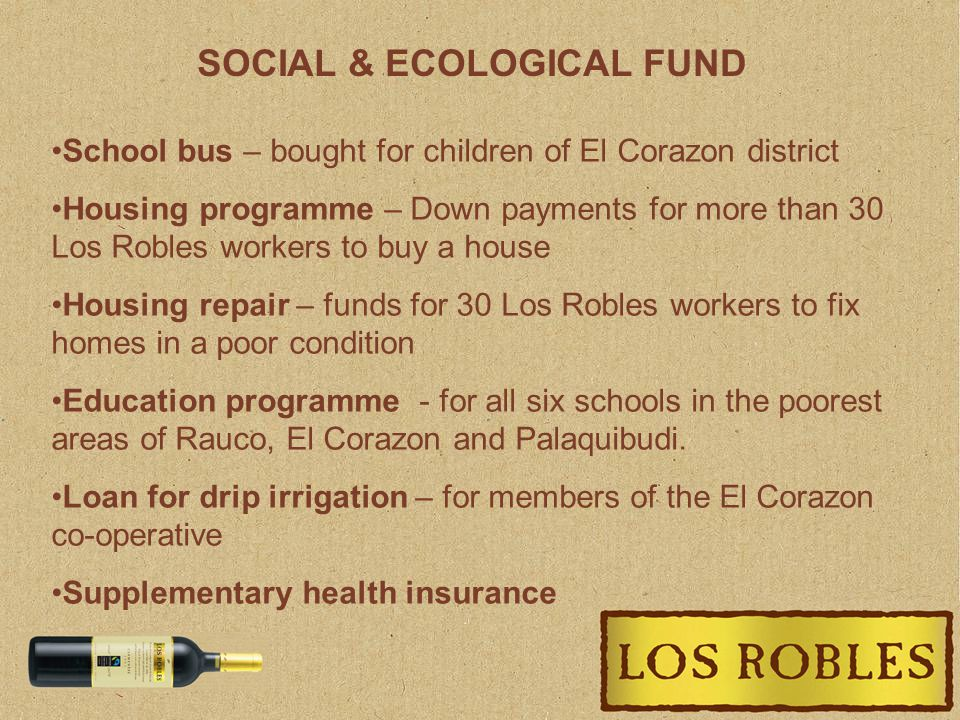 SOCIAL & ECOLOGICAL FUND School bus – bought for children of El Corazon district Housing programme – Down payments for more than 30 Los Robles workers to buy a house Housing repair – funds for 30 Los Robles workers to fix homes in a poor condition Education programme - for all six schools in the poorest areas of Rauco, El Corazon and Palaquibudi.