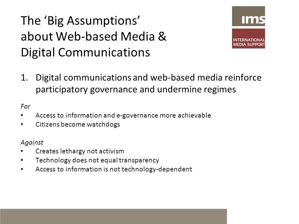 Case Examples of the use of Digital Communication by Web-based Media in Burma, Sri Lanka and Belarus Roskilde University, 7 October 2010 Thomas Hughes Deputy Director International Media Support