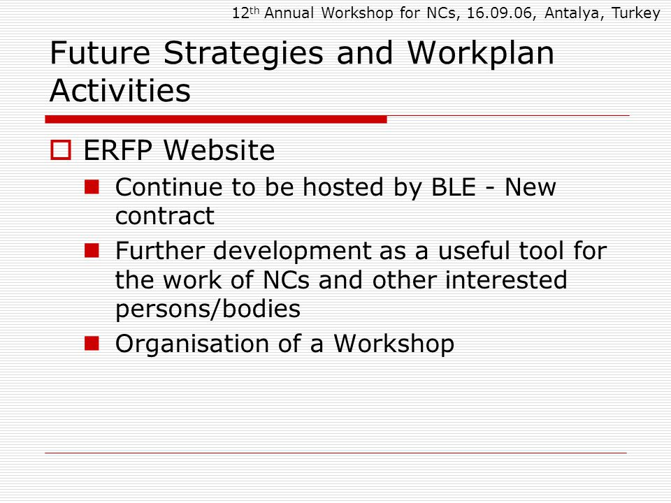 Future Strategies and Workplan Activities  ERFP Website Continue to be hosted by BLE - New contract Further development as a useful tool for the work of NCs and other interested persons/bodies Organisation of a Workshop 12 th Annual Workshop for NCs, 16.09.06, Antalya, Turkey