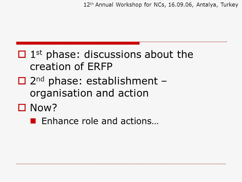 Future Strategies and Workplan Activities  European Commission Ensure the role of ERFP in the development of strategies related with AnGR  A concerted action submitted under EU Regulation 870/04 12 th Annual Workshop for NCs, 16.09.06, Antalya, Turkey