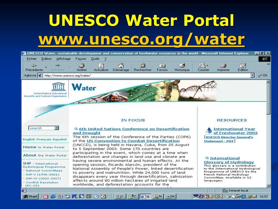 UNESCO Water Portal www.unesco.org/water www.unesco.org/water