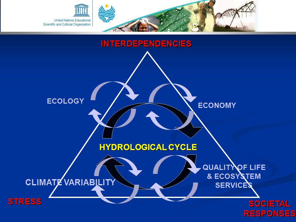 INTERDEPENDENCIES SOCIETALRESPONSES STRESS HYDROLOGICAL CYCLE ECONOMY ECOLOGY CLIMATE VARIABILITY QUALITY OF LIFE & ECOSYSTEM SERVICES