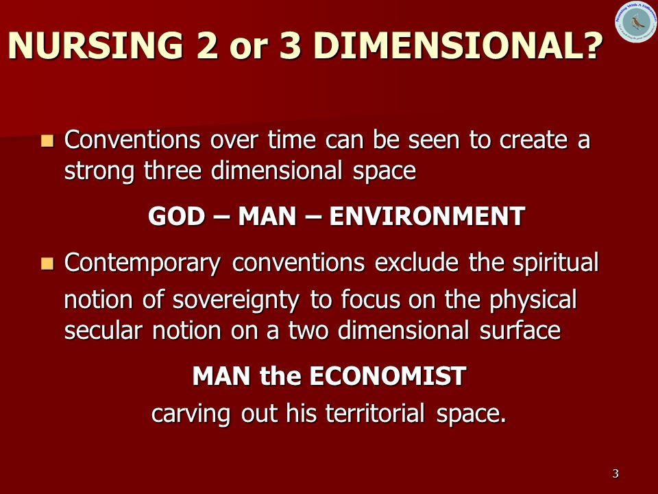 3 NURSING 2 or 3 DIMENSIONAL? Conventions over time can be seen to create a strong three dimensional space Conventions over time can be seen to create