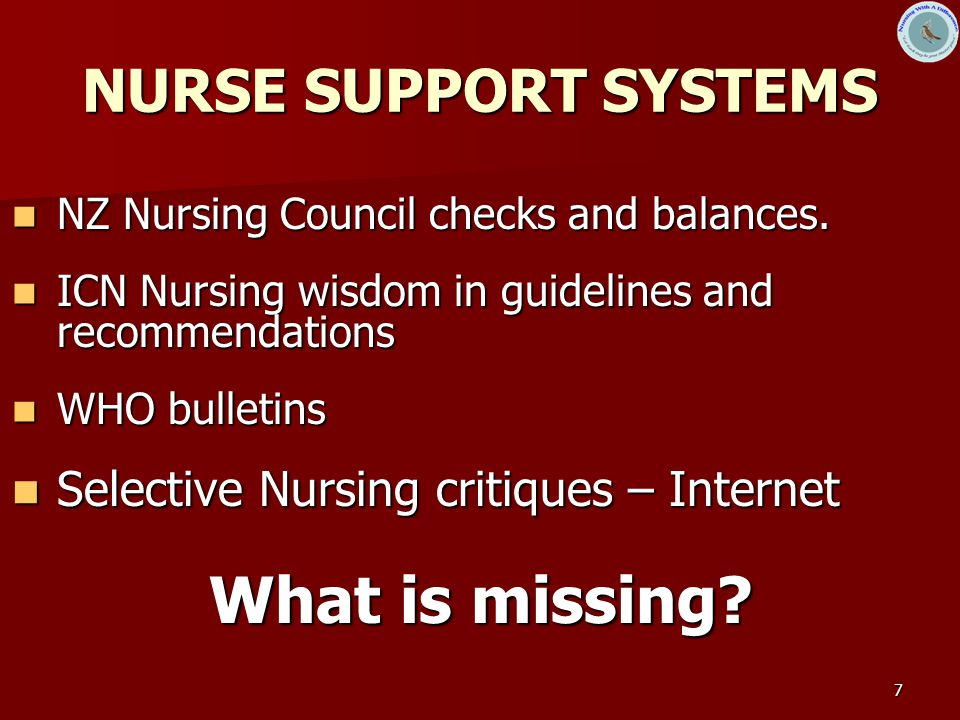 7 NURSE SUPPORT SYSTEMS NZ Nursing Council checks and balances.