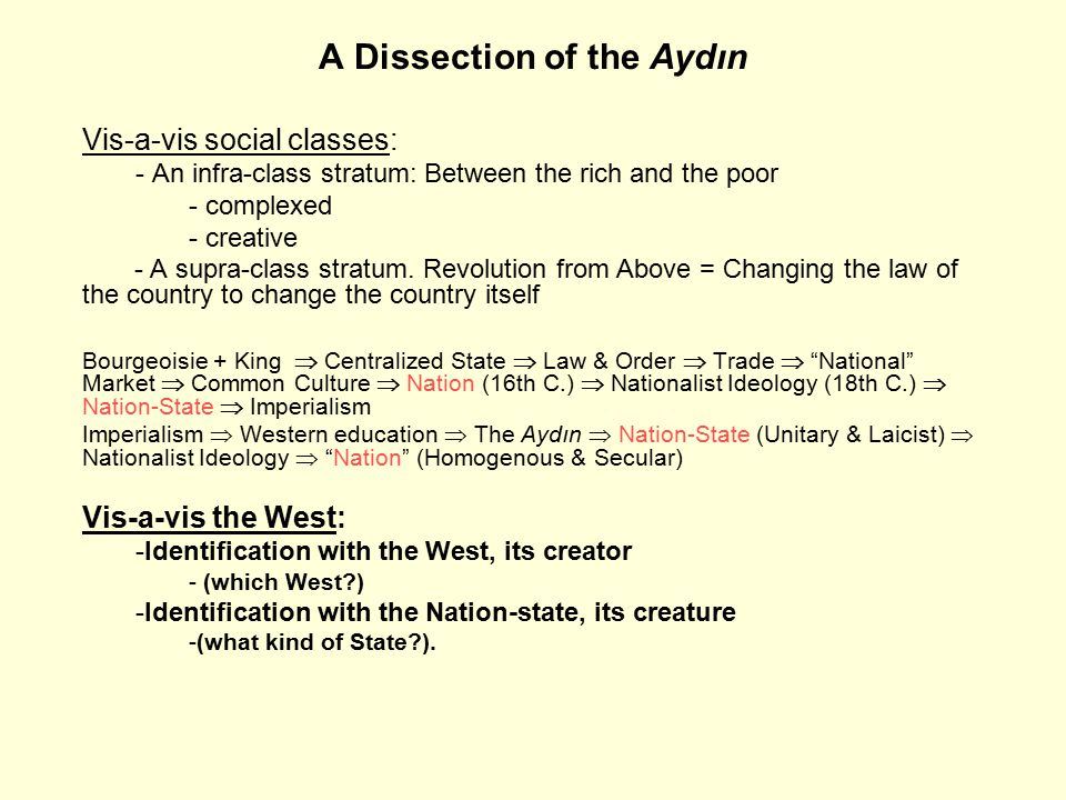 A Dissection of the Aydın Vis-a-vis social classes: - An infra-class stratum: Between the rich and the poor - complexed - creative - A supra-class stratum.