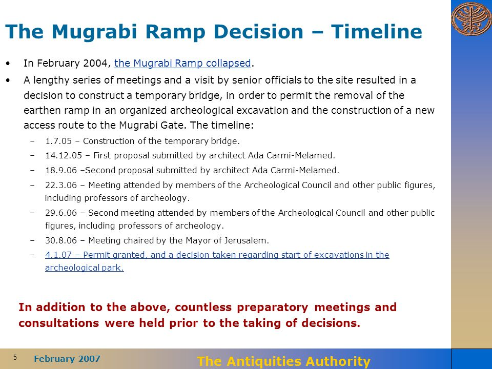 5 February 2007 The Antiquities Authority The Mugrabi Ramp Decision – Timeline In February 2004, the Mugrabi Ramp collapsed.the Mugrabi Ramp collapsed A lengthy series of meetings and a visit by senior officials to the site resulted in a decision to construct a temporary bridge, in order to permit the removal of the earthen ramp in an organized archeological excavation and the construction of a new access route to the Mugrabi Gate.