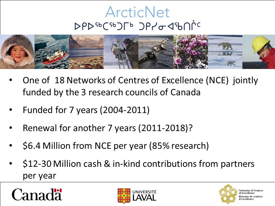 One of 18 Networks of Centres of Excellence (NCE) jointly funded by the 3 research councils of Canada Funded for 7 years (2004-2011) Renewal for another 7 years (2011-2018).