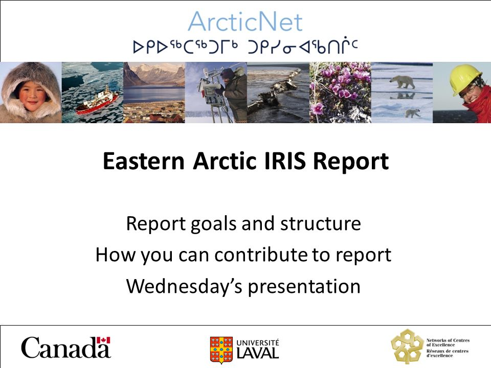 Eastern Arctic IRIS Report Report goals and structure How you can contribute to report Wednesday's presentation