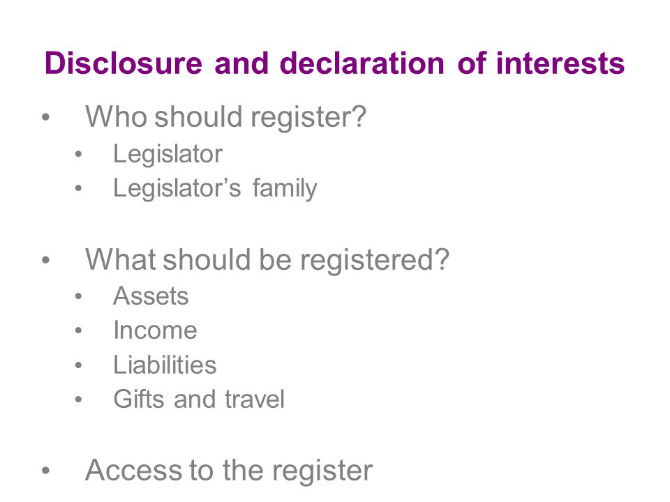 Disclosure and declaration of interests Who should register.