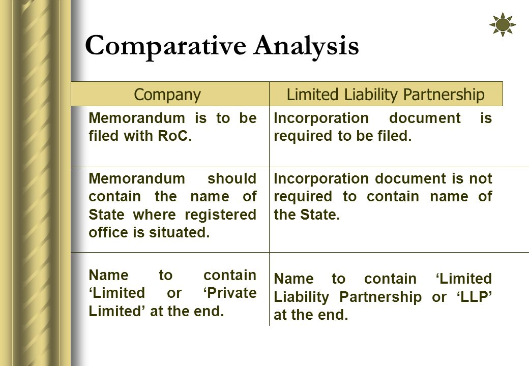 Comparative Analysis Memorandum is to be filed with RoC.