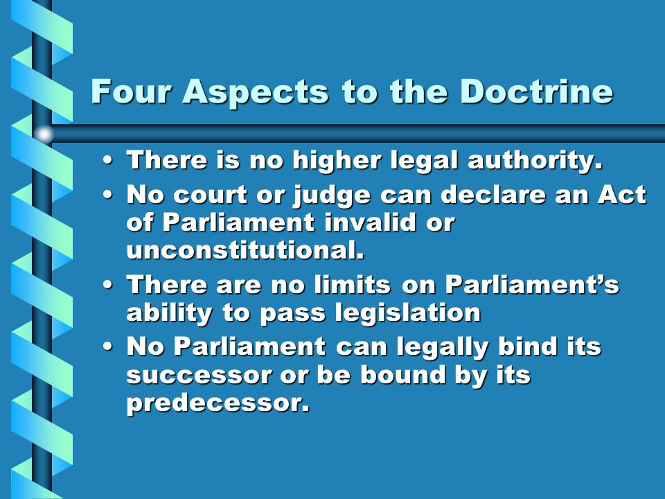 Four Aspects to the Doctrine There is no higher legal authority.There is no higher legal authority.