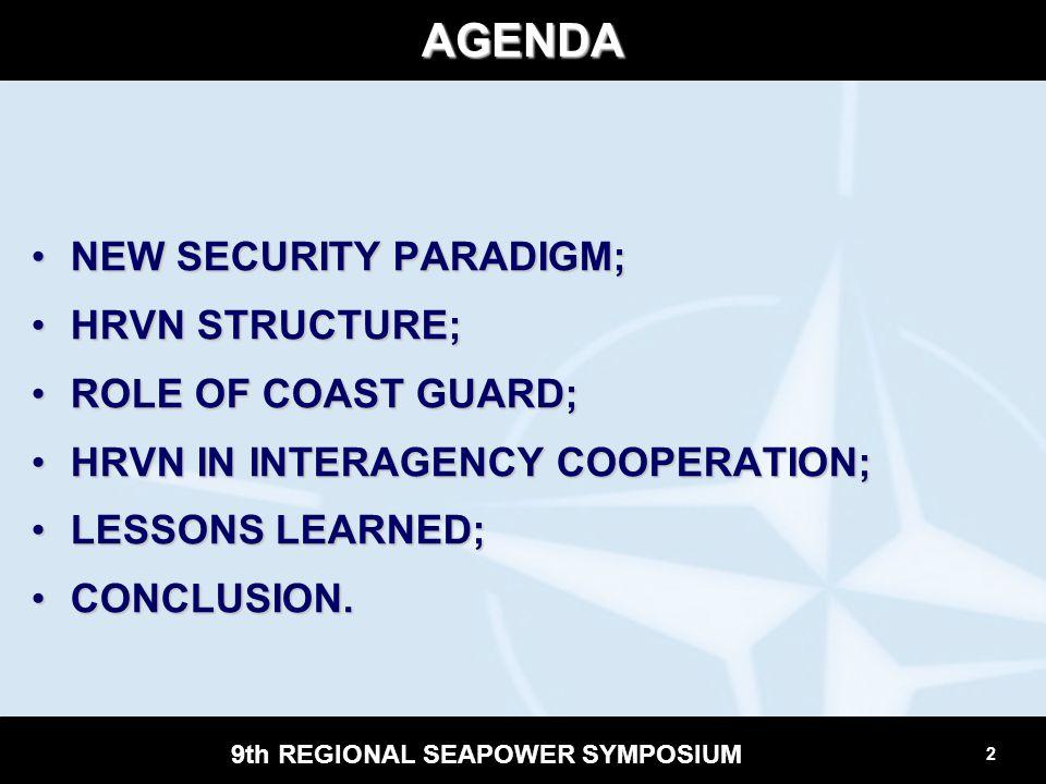 2 9th REGIONAL SEAPOWER SYMPOSIUM AGENDA NEW SECURITY PARADIGM;NEW SECURITY PARADIGM; HRVN STRUCTURE;HRVN STRUCTURE; ROLE OF COAST GUARD;ROLE OF COAST
