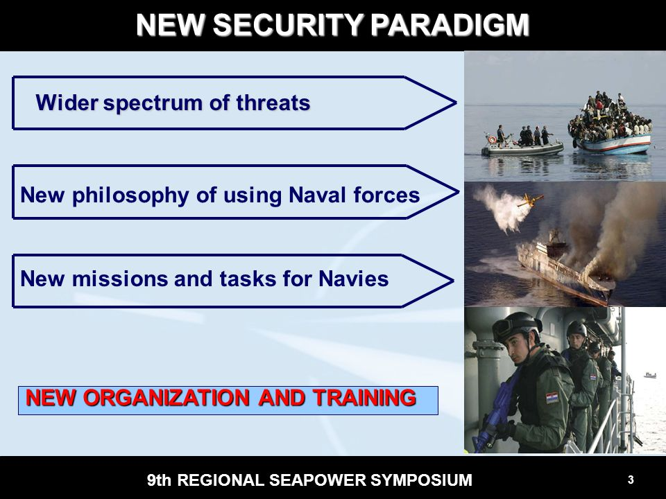 4 9th REGIONAL SEAPOWER SYMPOSIUM wide variety of threats; effects based planning and development; effects based planning and development; unity of effort (service, joint, combined); unity of effort (service, joint, combined); interagency cooperation; effective use of resources; regional cooperation.