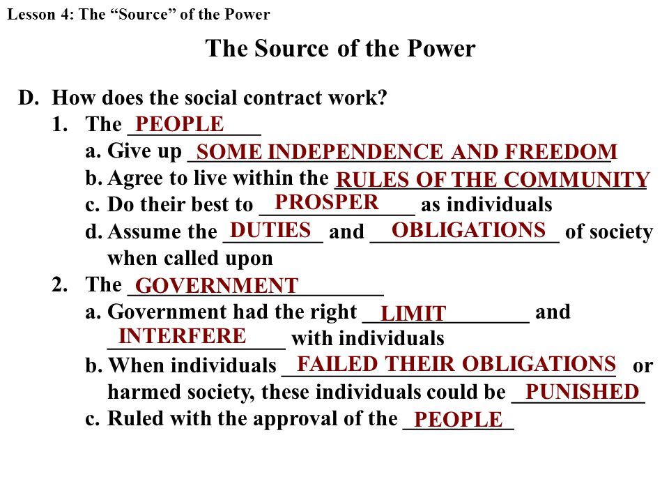 The Source of the Power D.How does the social contract work.