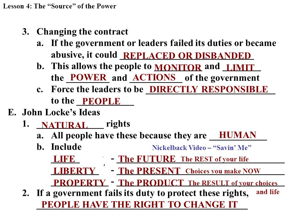 3.Changing the contract a.If the government or leaders failed its duties or became abusive, it could ____________________________ b.This allows the people to __________ and ________ the _________ and ___________ of the government c.Force the leaders to be ___________________________ to the ____________ E.John Locke's Ideas 1.______________ rights a.All people have these because they are ____________ b.Include ______ - ___________________________________ __________ - ___________________________________ ____________ - ___________________________________ 2.If a government fails its duty to protect these rights, ____________________________________________ Lesson 4: The Source of the Power REPLACED OR DISBANDED MONITORLIMIT POWERACTIONS DIRECTLY RESPONSIBLE PEOPLE NATURAL HUMAN LIFE LIBERTY PROPERTY PEOPLE HAVE THE RIGHT TO CHANGE IT The PRESENT Choices you make NOW The FUTURE The REST of your life Nickelback Video – Savin' Me The PRODUCT The RESULT of your choices and life