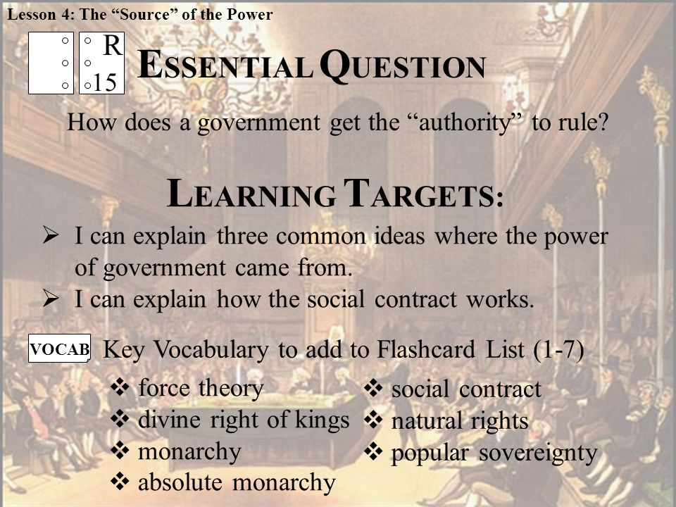 L EARNING T ARGETS:  social contract  natural rights  popular sovereignty VOCAB Key Vocabulary to add to Flashcard List (1-7)  I can explain three common ideas where the power of government came from.