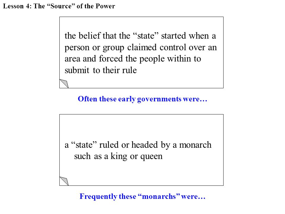 FORCE THEORY the belief that the state started when a person or group claimed control over an area and forced the people within to submit to their rule Lesson 4: The Source of the Power Often these early governments were… MONARCHY a state ruled or headed by a monarch such as a king or queen Frequently these monarchs were…
