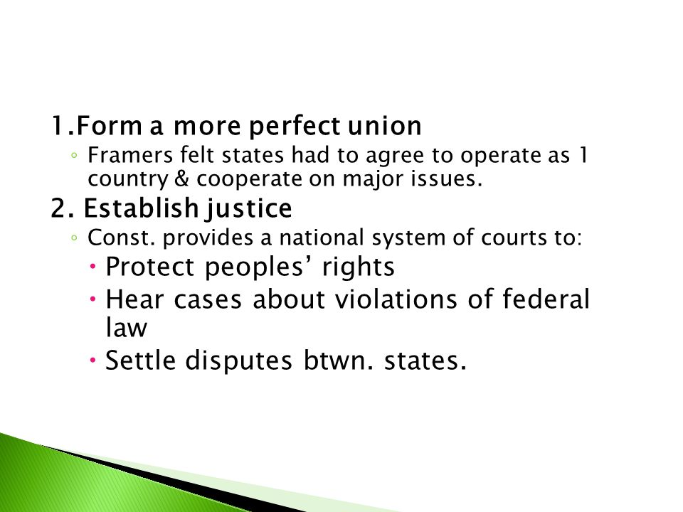 3.Insure domestic tranquility ◦ Constitution provides a strong central govt.