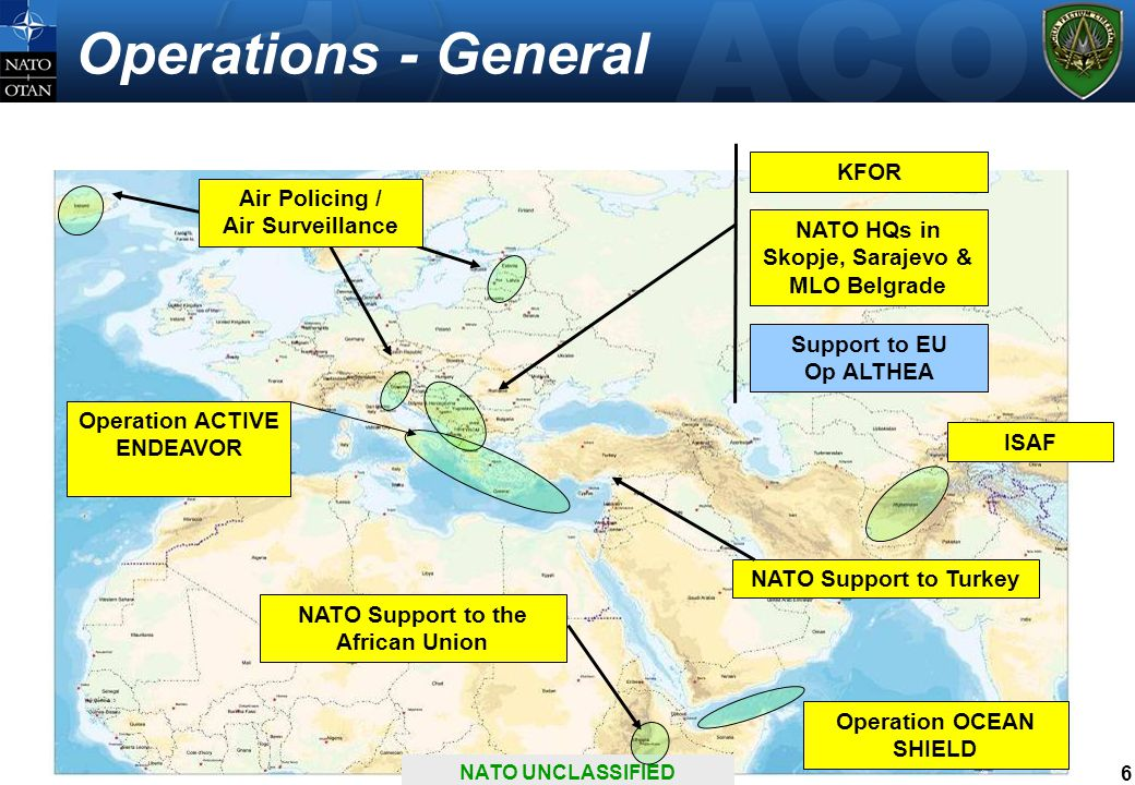 6 Operations - General NATO Support to the African Union ISAF Support to EU Op ALTHEA KFOR NATO HQs in Skopje, Sarajevo & MLO Belgrade Operation ACTIVE ENDEAVOR Air Policing / Air Surveillance Operation OCEAN SHIELD NATO UNCLASSIFIED NATO Support to Turkey