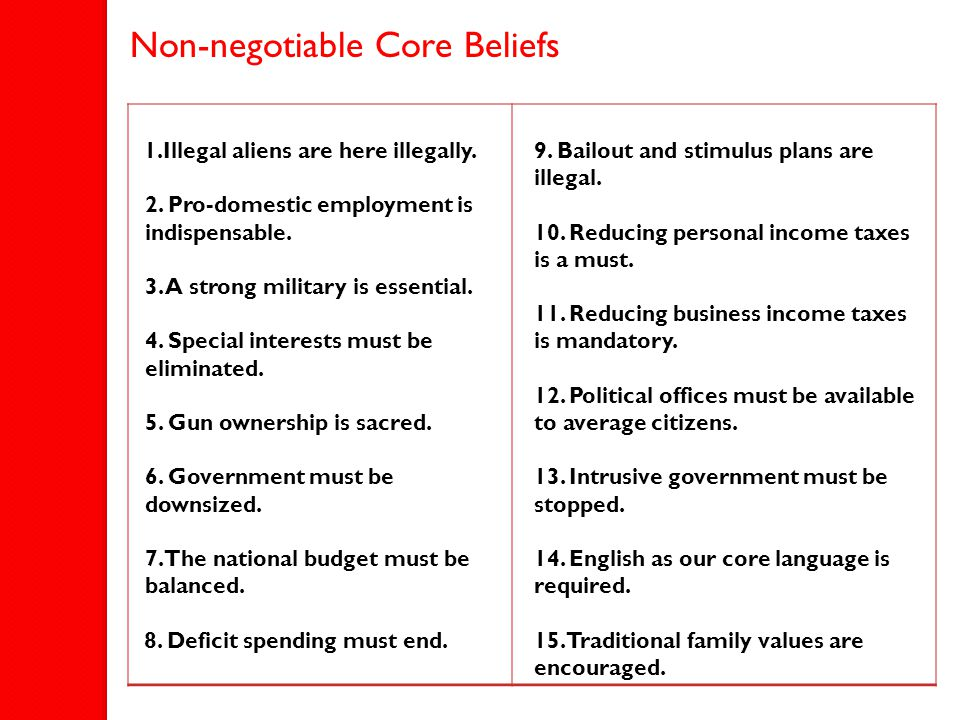 Non-negotiable Core Beliefs 1.Illegal aliens are here illegally. 2. Pro-domestic employment is indispensable. 3. A strong military is essential. 4. Sp