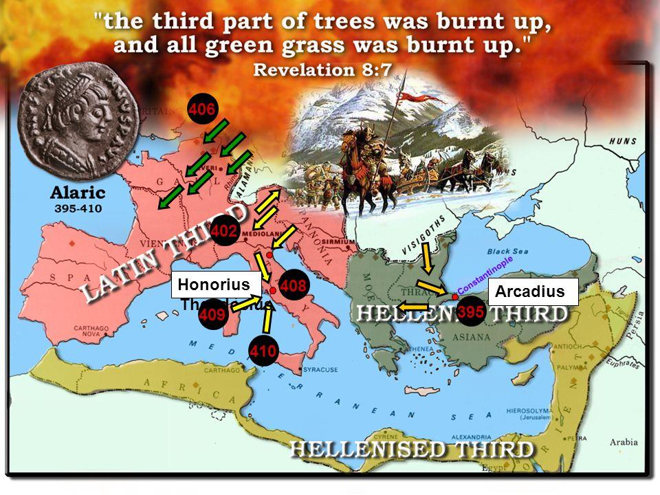 Constantinople 395402408410 Theodosius Honorius Arcadius 409406