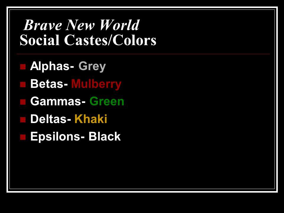 Brave New World Social Castes/Colors Alphas- Grey Betas- Mulberry Gammas- Green Deltas- Khaki Epsilons- Black