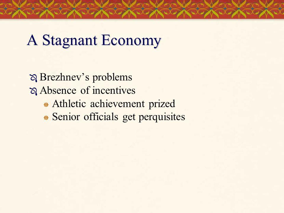 A Stagnant Economy  Brezhnev's problems  Absence of incentives  Athletic achievement prized  Senior officials get perquisites