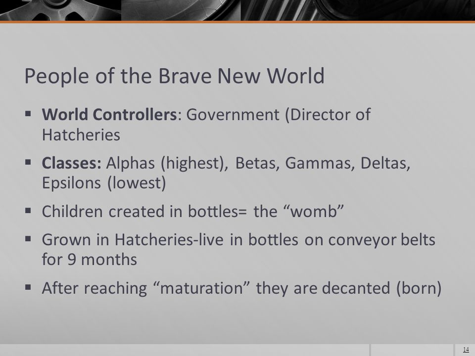 People of the Brave New World  World Controllers: Government (Director of Hatcheries  Classes: Alphas (highest), Betas, Gammas, Deltas, Epsilons (lowest)  Children created in bottles= the womb  Grown in Hatcheries-live in bottles on conveyor belts for 9 months  After reaching maturation they are decanted (born) 14