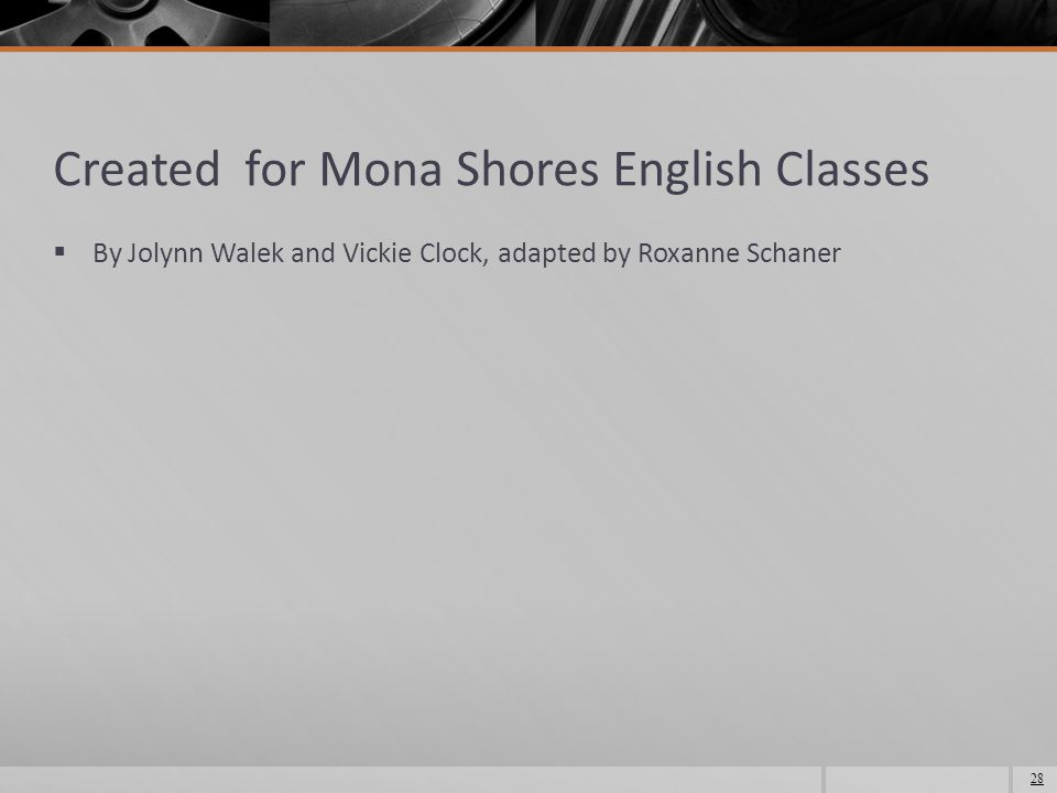 Created for Mona Shores English Classes  By Jolynn Walek and Vickie Clock, adapted by Roxanne Schaner 28