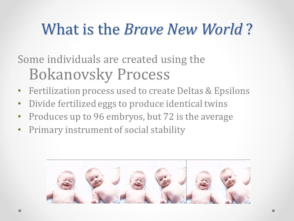 Some individuals are created using the Bokanovsky Process Fertilization process used to create Deltas & Epsilons Divide fertilized eggs to produce identical twins Produces up to 96 embryos, but 72 is the average Primary instrument of social stability What is the Brave New World