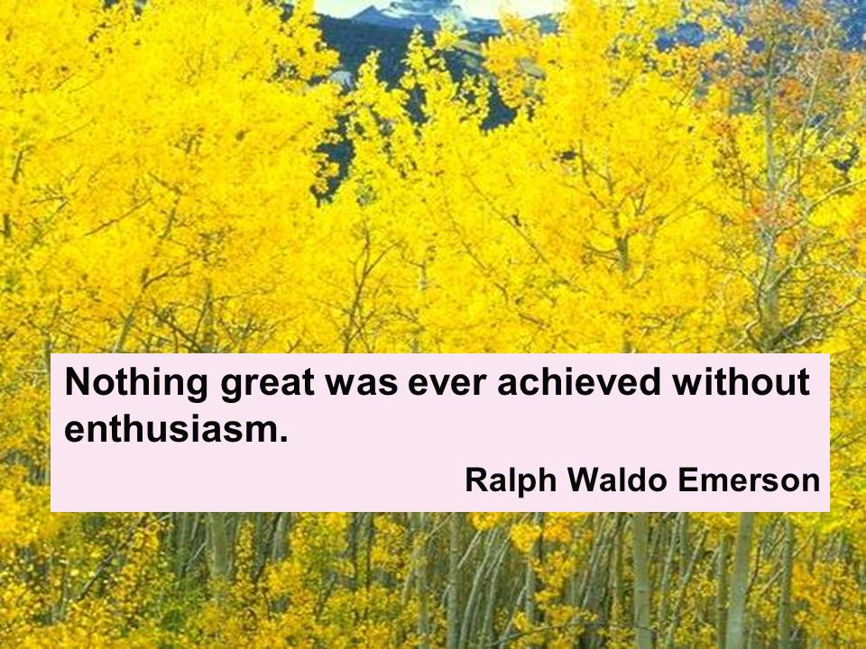 Nothing great was ever achieved without enthusiasm. Ralph Waldo Emerson