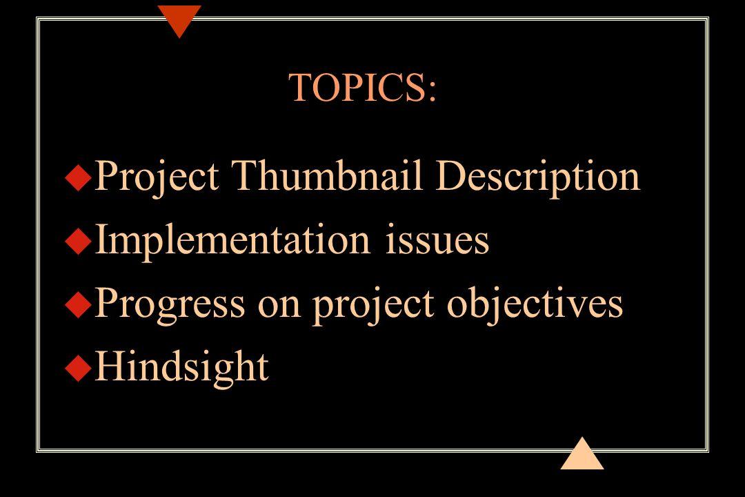 u Project Thumbnail Description u Implementation issues u Progress on project objectives u Hindsight TOPICS: