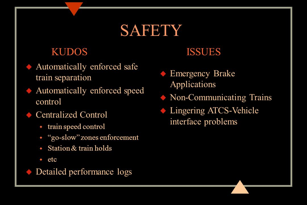 SAFETY u Automatically enforced safe train separation u Automatically enforced speed control u Centralized Control w train speed control w go-slow zones enforcement w Station & train holds w etc u Detailed performance logs u Emergency Brake Applications u Non-Communicating Trains u Lingering ATCS-Vehicle interface problems KUDOSISSUES
