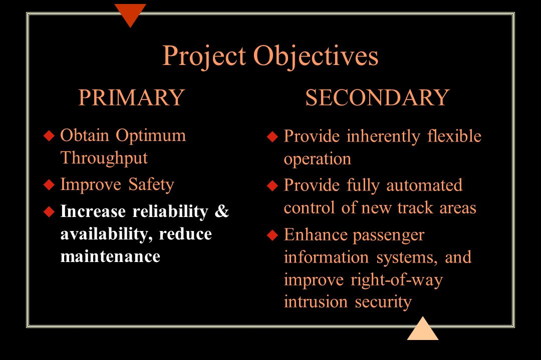 Project Objectives u Obtain Optimum Throughput u Improve Safety u Increase reliability & availability, reduce maintenance u Provide inherently flexible operation u Provide fully automated control of new track areas u Enhance passenger information systems, and improve right-of-way intrusion security PRIMARYSECONDARY