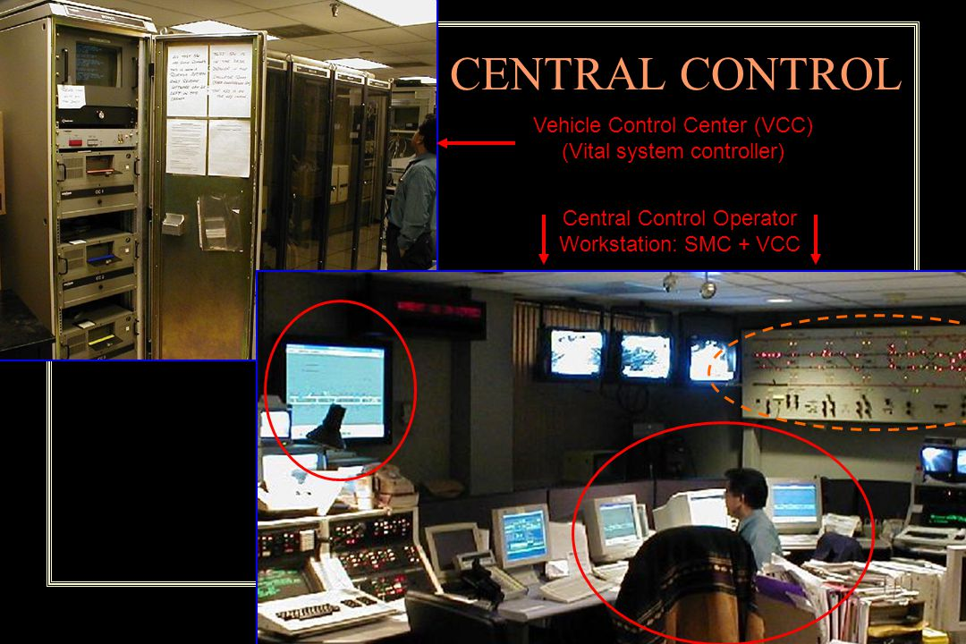 CENTRAL CONTROL Vehicle Control Center (VCC) (Vital system controller) Central Control Operator Workstation: SMC + VCC