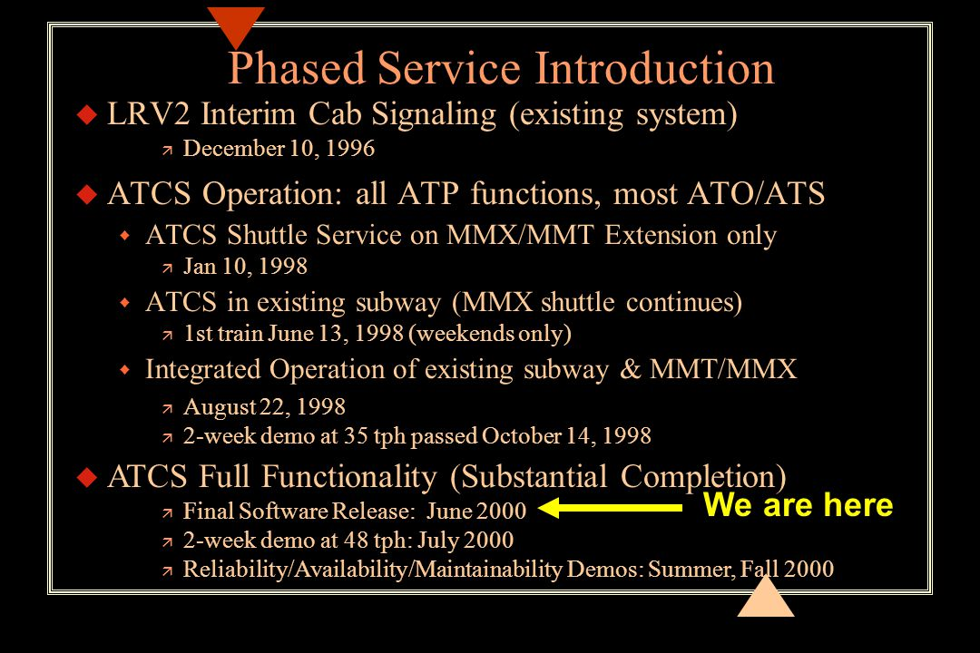 Phased Service Introduction u LRV2 Interim Cab Signaling (existing system) ä December 10, 1996 u ATCS Operation: all ATP functions, most ATO/ATS w ATCS Shuttle Service on MMX/MMT Extension only ä Jan 10, 1998 w ATCS in existing subway (MMX shuttle continues) ä 1st train June 13, 1998 (weekends only) w Integrated Operation of existing subway & MMT/MMX ä August 22, 1998 ä 2-week demo at 35 tph passed October 14, 1998 u ATCS Full Functionality (Substantial Completion) ä Final Software Release: June 2000 ä 2-week demo at 48 tph: July 2000 ä Reliability/Availability/Maintainability Demos: Summer, Fall 2000 We are here