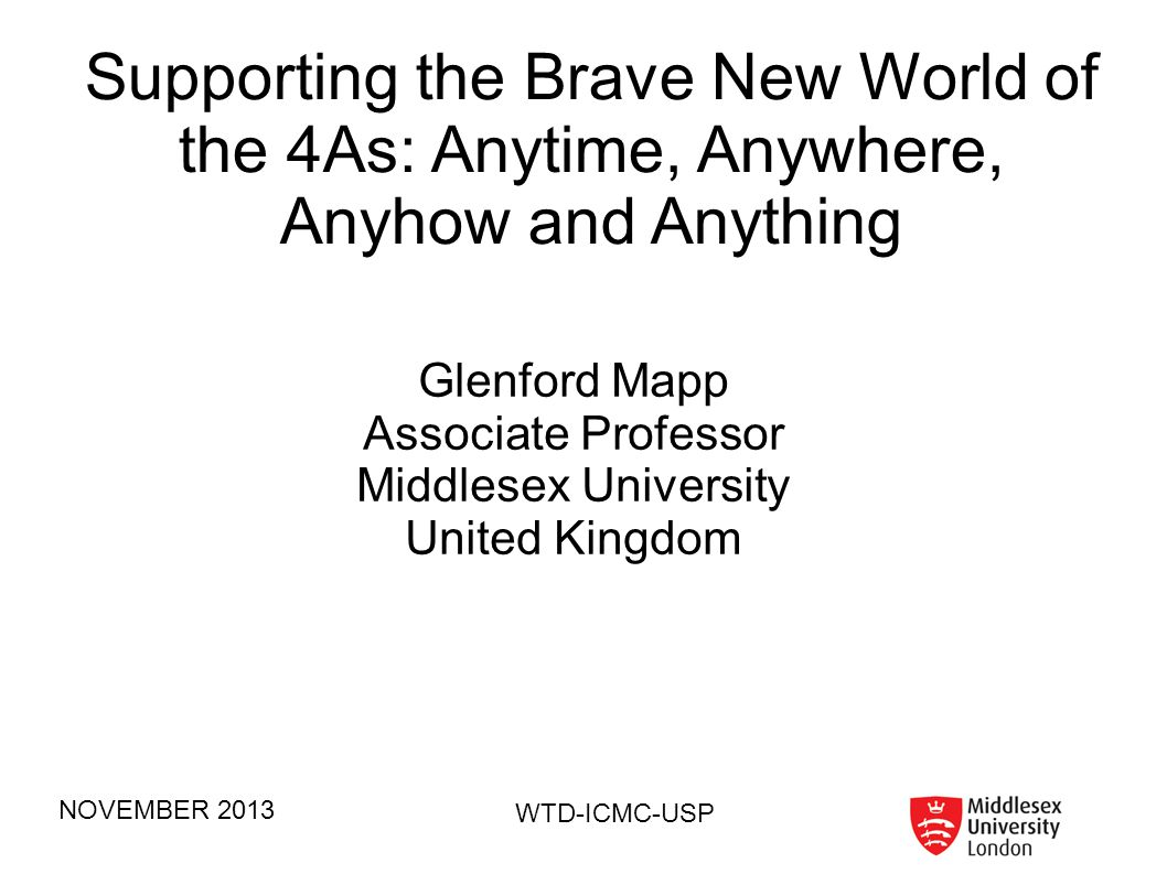 NOVEMBER 2013 WTD-ICMC-USP Outline of My Talk What is this new world really about What are the challenges Y-Comm – a bridge to this new world Collaborations What s new in my world Joining the revolution