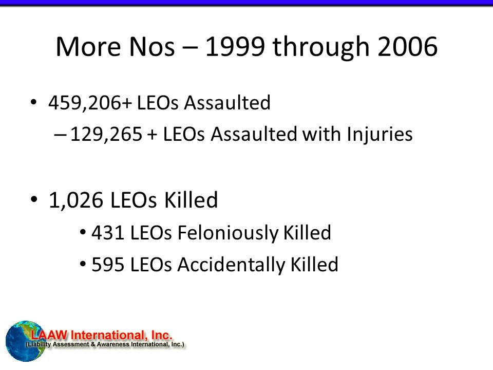 More Nos – 1999 through 2006 459,206+ LEOs Assaulted – 129,265 + LEOs Assaulted with Injuries 1,026 LEOs Killed 431 LEOs Feloniously Killed 595 LEOs Accidentally Killed