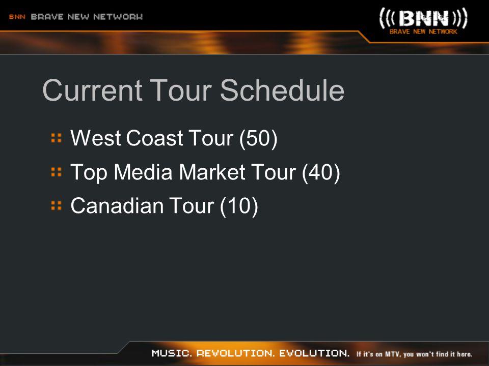 Current Tour Schedule West Coast Tour (50) Top Media Market Tour (40) Canadian Tour (10)