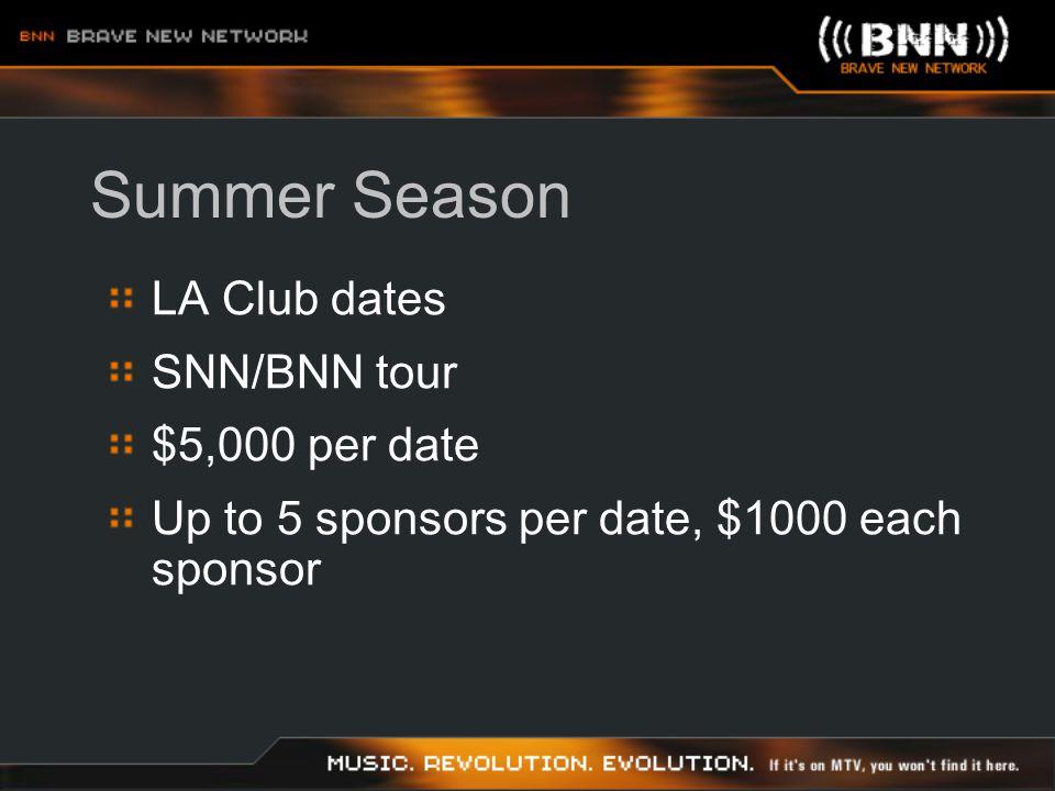 Summer Season LA Club dates SNN/BNN tour $5,000 per date Up to 5 sponsors per date, $1000 each sponsor