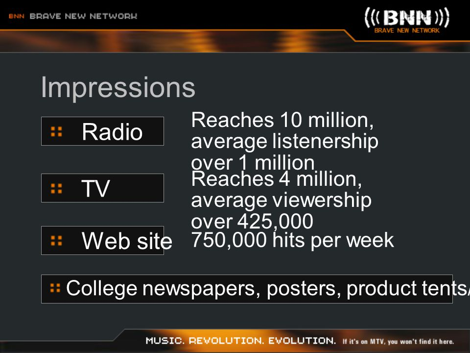 Reports Arbitron, Nielson, Acutrack reports supplied to sponsors College Research Consortium has contract with Arbitron (used by NPR) BNN supplies hits on sites BNN supplies sales on site to sponsors