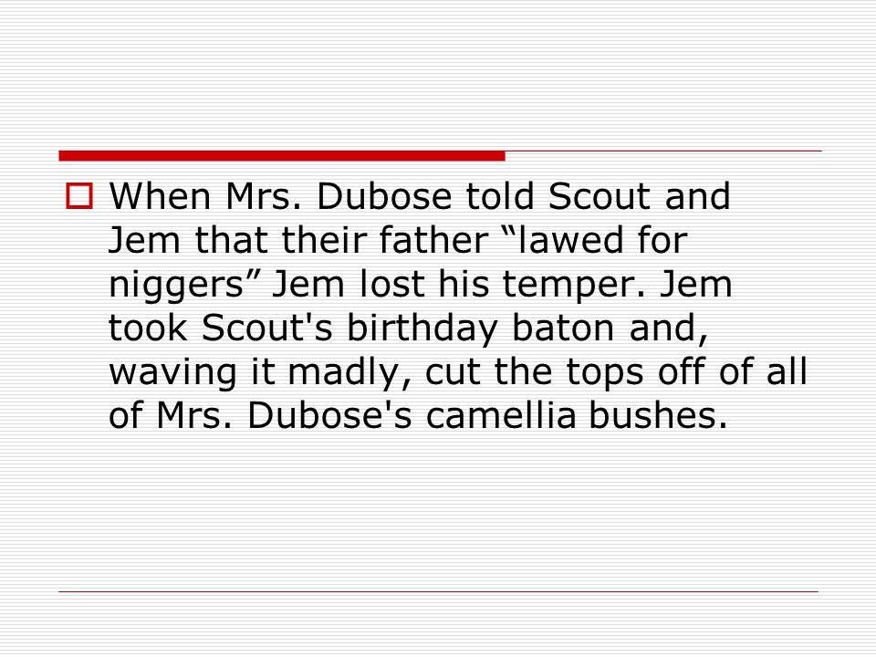 """ When Mrs. Dubose told Scout and Jem that their father """"lawed for niggers"""" Jem lost his temper. Jem took Scout's birthday baton and, waving it madly,"""