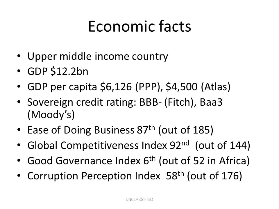 Economic facts Upper middle income country GDP $12.2bn GDP per capita $6,126 (PPP), $4,500 (Atlas) Sovereign credit rating: BBB- (Fitch), Baa3 (Moody's) Ease of Doing Business 87 th (out of 185) Global Competitiveness Index 92 nd (out of 144) Good Governance Index 6 th (out of 52 in Africa) Corruption Perception Index 58 th (out of 176) UNCLASSIFIED