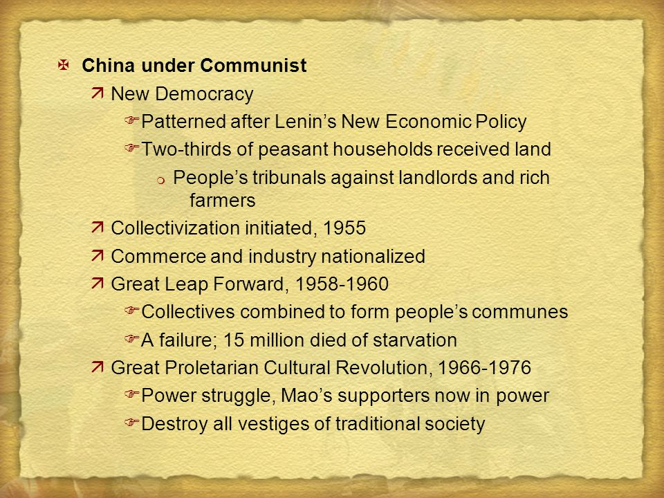 XChina under Communist äNew Democracy FPatterned after Lenin's New Economic Policy FTwo-thirds of peasant households received land m People's tribunal