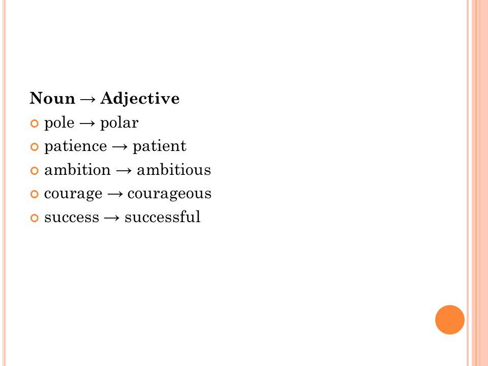 Noun → Adjective pole → polar patience → patient ambition → ambitious courage → courageous success → successful