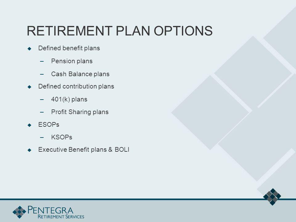 RETIREMENT PLAN OPTIONS  Defined benefit plans –Pension plans –Cash Balance plans  Defined contribution plans –401(k) plans –Profit Sharing plans  ESOPs –KSOPs  Executive Benefit plans & BOLI