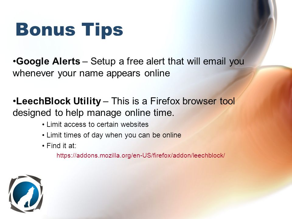 Bonus Tips Google Alerts – Setup a free alert that will email you whenever your name appears online LeechBlock Utility – This is a Firefox browser tool designed to help manage online time.