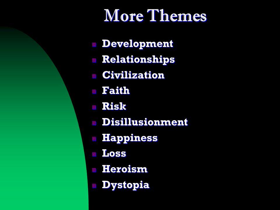 More Themes Development Development Relationships Relationships Civilization Civilization Faith Faith Risk Risk Disillusionment Disillusionment Happiness Happiness Loss Loss Heroism Heroism Dystopia Dystopia